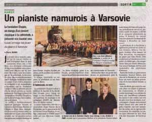 Lucas Lemage - Article de presse Namur - 2011