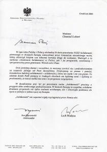 Lech Wałęsa lettre
